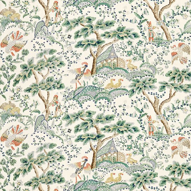 Kelmscott Hand Block Print in Leaf on Ivory