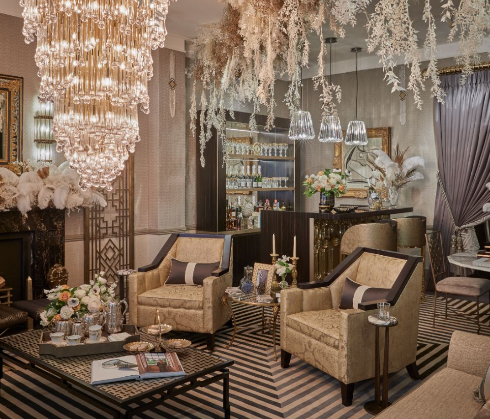 Guinevere Antiques' chandelier, Ben Whistler's chairs